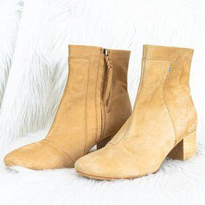TOMS Tan Leather Block Heel mid- Ankle Booties